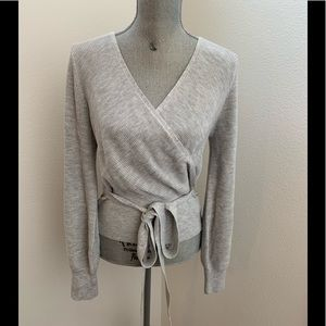 NWT Express Gray Ribbed Wrap Front Top Sweater